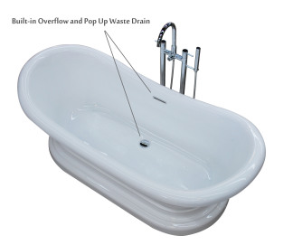 Access Tubs Reef Free Standing Soaker Bathtub Includes