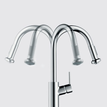 hansgrohe metro higharc kitchen faucet with 2function pulldown sprayhead in steel optik finish